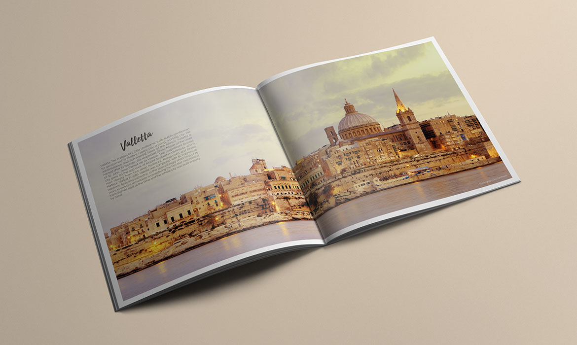 printed magazine brochure with image of valletta