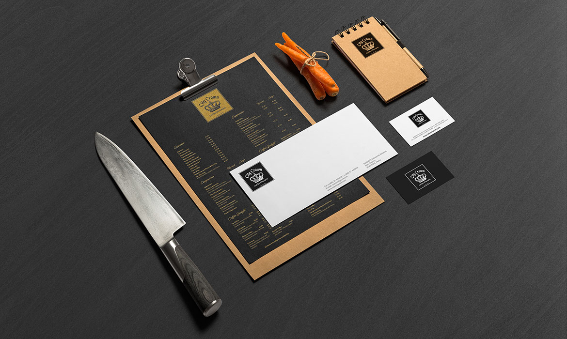printed stationery, envelopes, business cards and order books for restaurants