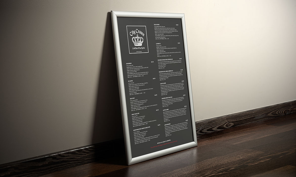 large printed outdoor menu
